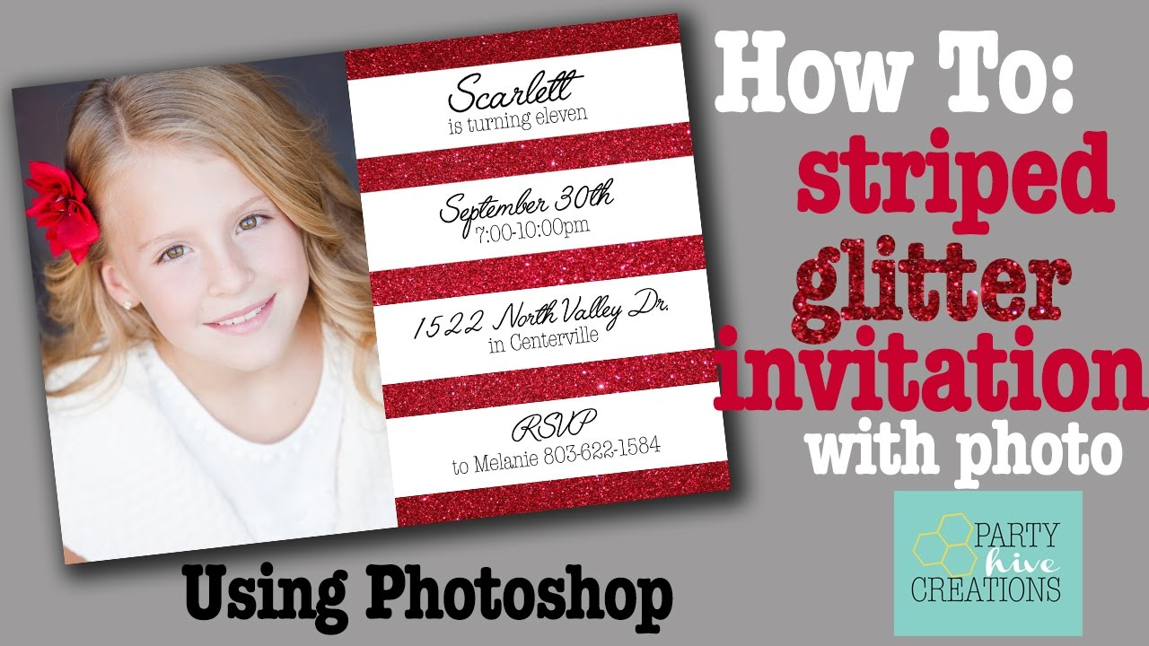 How To: Simple Striped Glitter Invitation with Photo in Photoshop ...