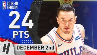 JJ Redick Full Highlights 76ers vs Grizzlies 2018.12.02 - 24 Pts, 3 Rebounds!