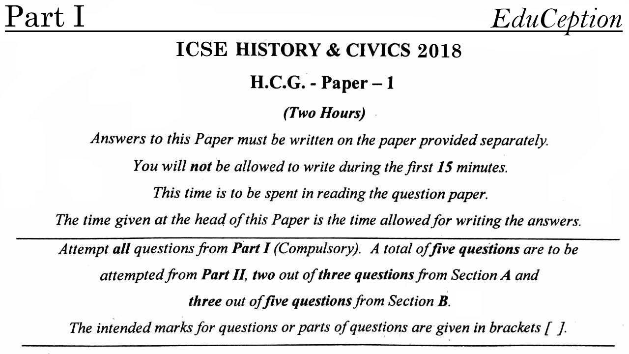 ICSE 2018 History & Civics Solved QP