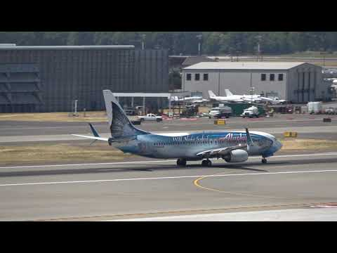Various Alaska Airlines Planes Landing & Departing Portland International Airport