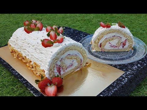 🍓l'authentique-recette-du-roulé-aux-fraises🍓façon-bûche,-super-moelleux,-fondant-et-crémeux-😋