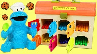 LEARN COLORS Feeding Cookie Monster Colorful Treats from Toy Hospital Best Learning Video for Kids!