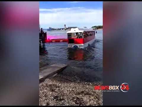 Автобус с детьми нырнул в море на Спортивной Набережной Владивостока