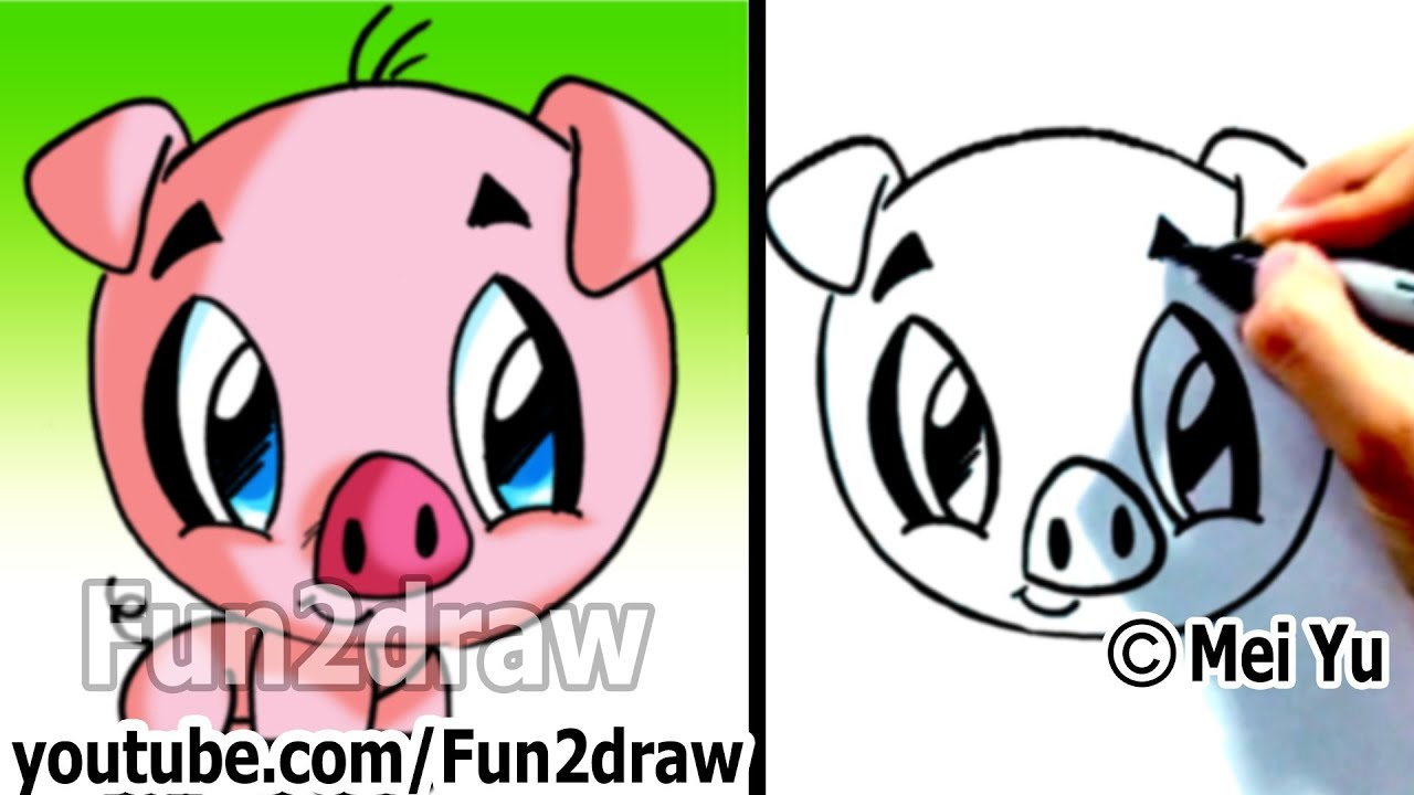 how to draw a cartoon pig under 2 min cute animal drawings fun2draw art lessons for kids youtube
