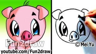How to Draw a Cartoon Pig under 2 min - Cute animal drawings - Fun2draw art lessons for kids