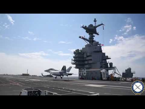 Fighter Lands on Next Generation Carrier USS Gerald R. Ford for the First Time