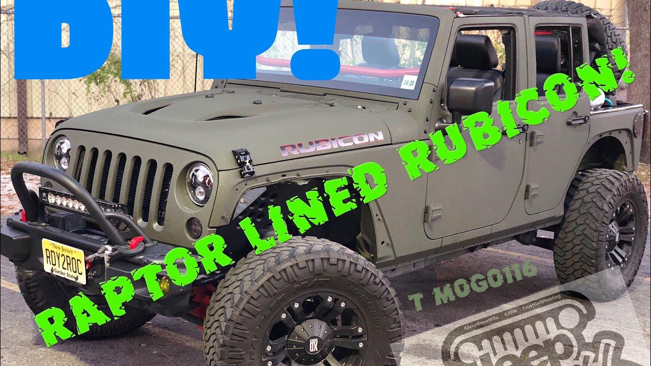 Jeep Wrangler Rubicon Hard Rock Diy Raptor Lined Youtube