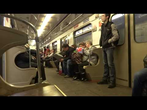 Another ride on the subway in Moscow, Russia part 1 of 2  Москва, Россия