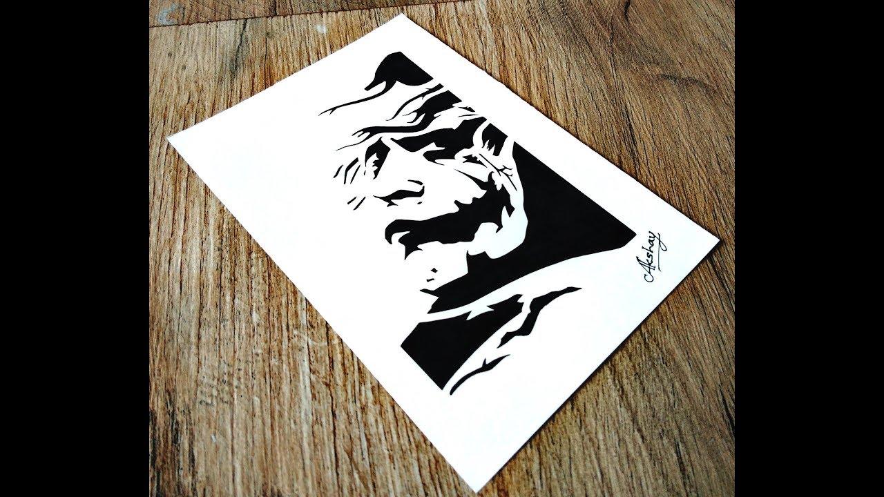 c77ccc2fa9333 How to draw The Joker - Stencil art - The Dark Knight. art maker akshay