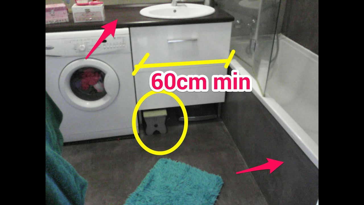 Am nagement salle de bain 4m2 youtube - Machine a laver sous lavabo ...