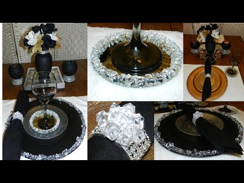 Elegant Table Setting Decor DIY  DIY Glam Crystal Plate Chargers And Napkin Rings  DIY Glam Coasters