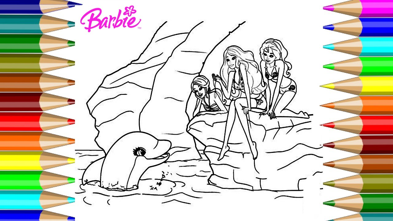 Barbie And Dolphin Coloring Pages Kids Fun Art Activities Videos For Children