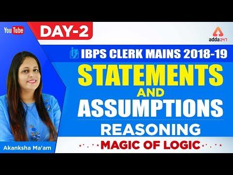 "IBPS CLERK MAINS   ""STATEMENTS AND ASSUMPTIONS""   REASONING   Magic of Logic   Part 2  "