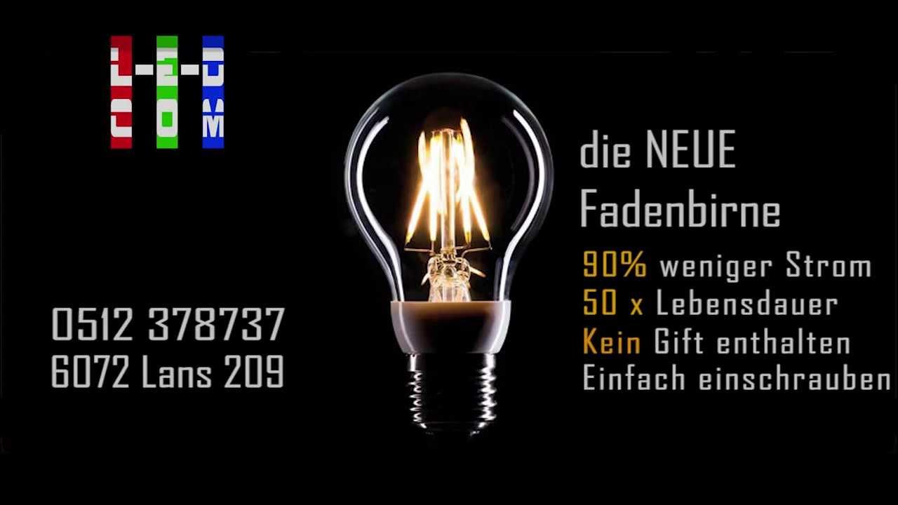 led gl hfadenbirne led filament bulb youtube. Black Bedroom Furniture Sets. Home Design Ideas