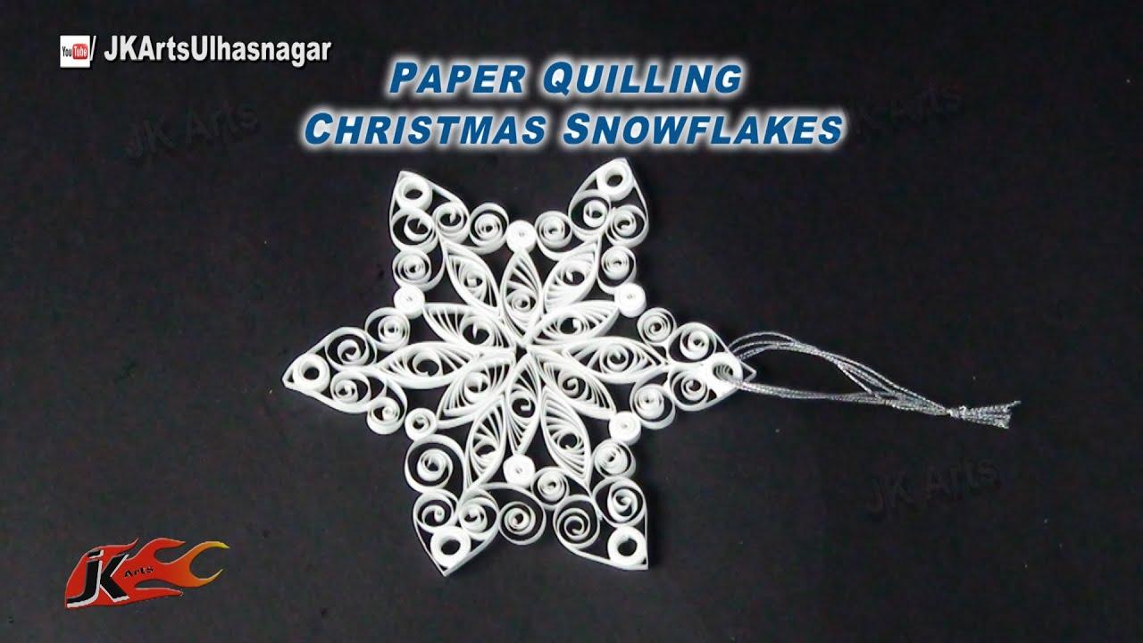 Make paper christmas decorations snowflakes - How To Make Christmas Decoration Diy Paper Quilling Snowflakes Jk Arts 807