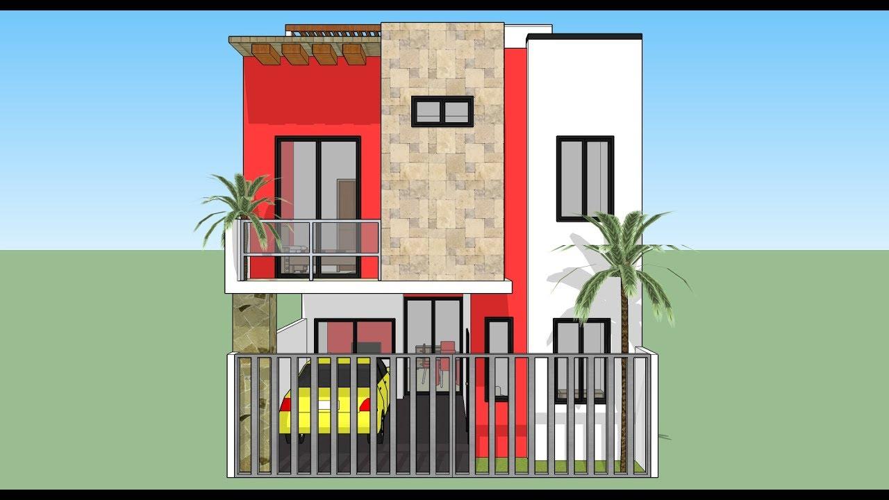 C mo dise ar una casa de 7x14m de terreno youtube for Casa minimalista 80 metros