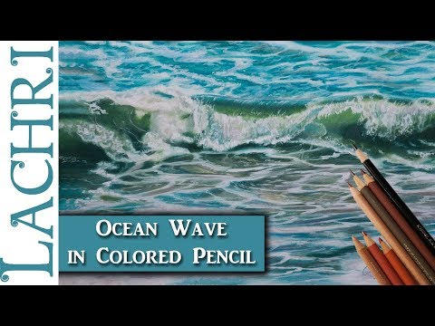 How to draw an ocean wave in colored pencil  -  Lachri