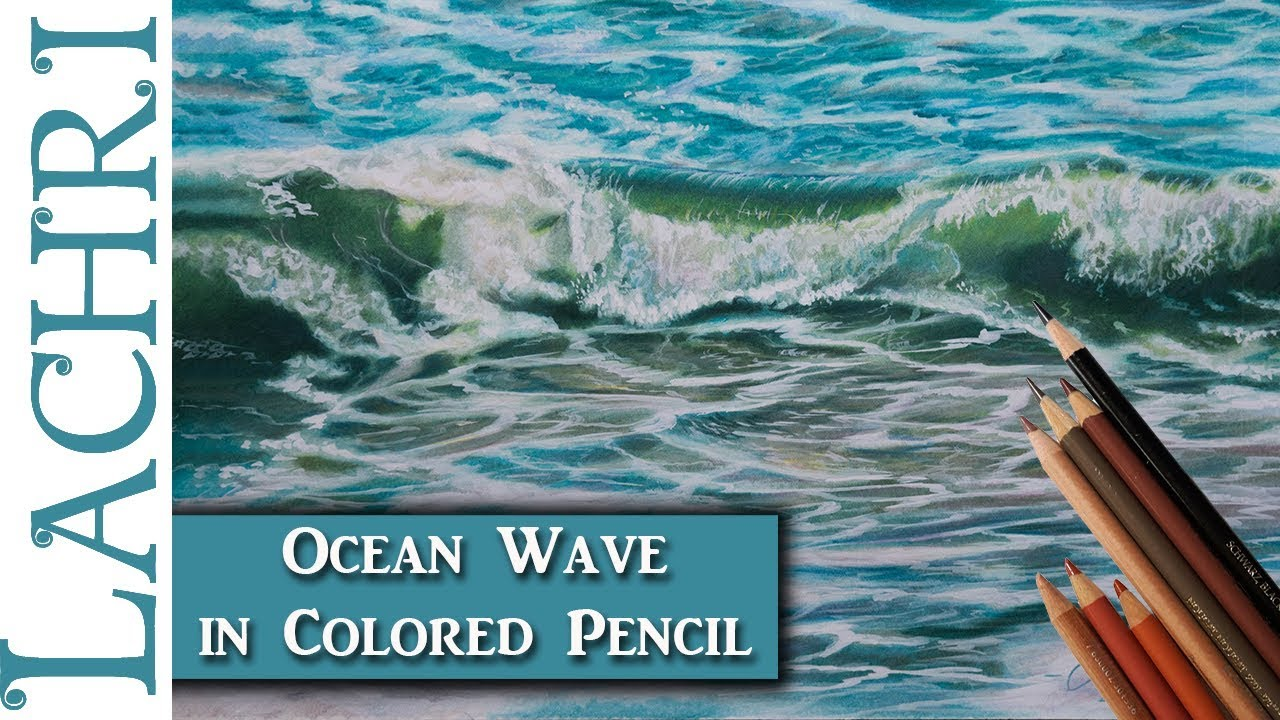 how to draw waves with colored pencils