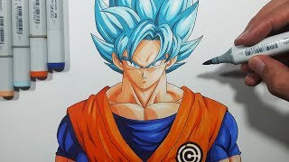 How To Draw Goku Super Saiyan Blue - Step By Step Tutorial!