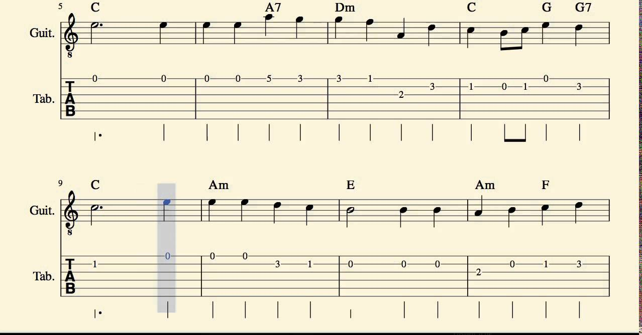 O Little Town Of Bethlehem Tabs Sheet Music For Guitar With Chords