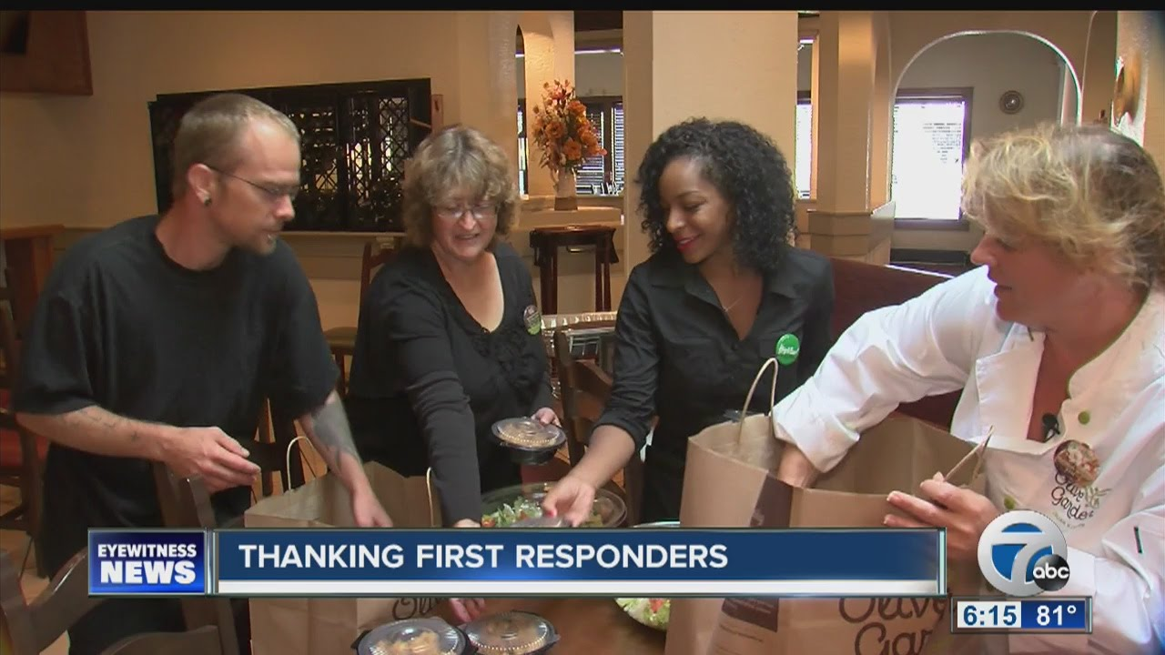 First responders get special meal from Olive Garden - YouTube
