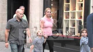 Britney Spears with husband and kids walking in the streets of Paris