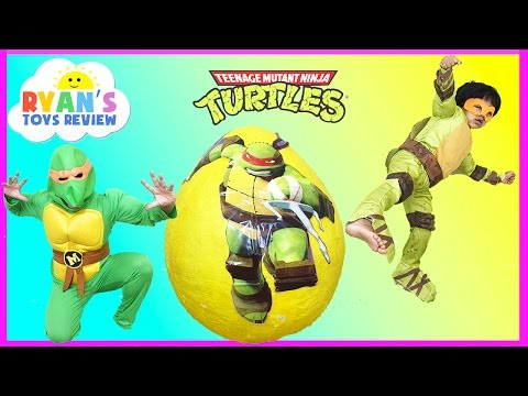 Giant Egg Surprise Opening Ninja Turtles Out of the Shadows Toys Kids Video Ryan ToysReview