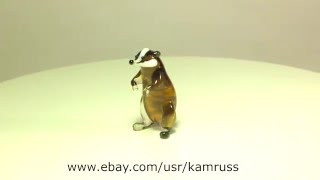 Blown Glass Murano Art BADGER Figurine Dollhouse Miniature Ornament RACCOON