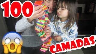 100 CAMADAS DE MASSINHA PLAY DOH | OLHA NO QUE DEU