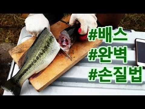 배스 완벽 손질하기!!!!! 배스 피 빼기!!!! How to prepare a whole largemouth bass for cooking