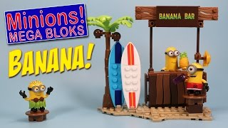Despicable Me Mega Blocks Beach Day Banana Bar Opening Speed Build