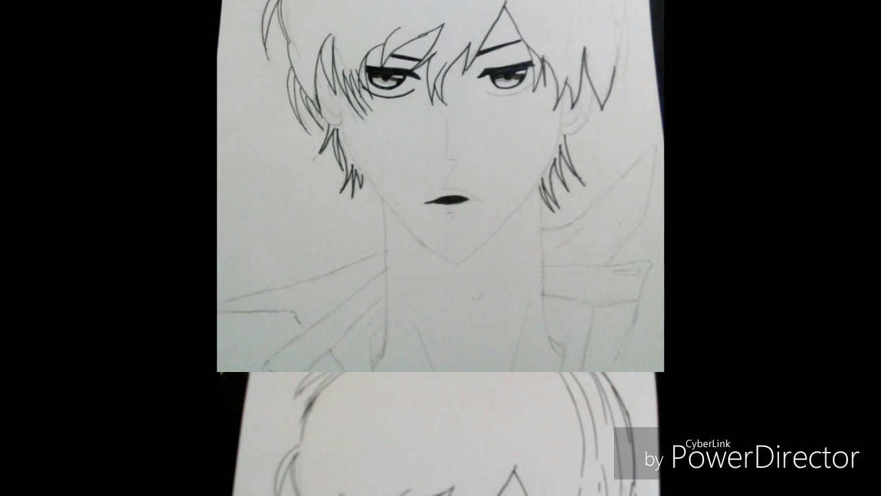Anime boy drawing pencilsketch pen