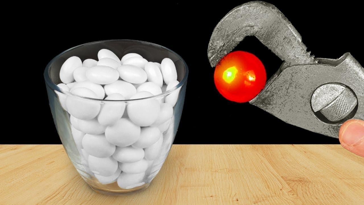 experiment-glowing-1000-degree-metal-ball-vs-mentos