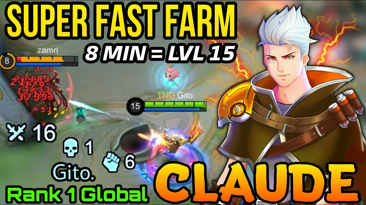 Super Fast Farming Claude The Golden Bullet - Top 1 Global Cluade by Gito. - MLBB