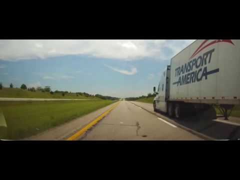 Driving on Interstate 35 from Iowa to Downtown Kansas City, MO