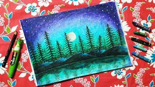 How to draw Moonlight Forest scenery step by step with Oil Pastels for beginners Technique Drawing 
