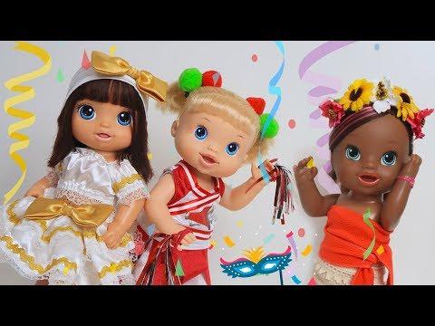 BABY ALIVE ARRUME SE PARA O BAILE DE CARNAVAL | Malu,Duda e Ive - Lilly Doll