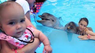 Младенец и дельфины. КУПАНИЕ с дельфинами! Мийчонок