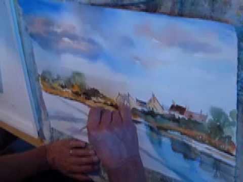 Le Ciel Et LEau  Dmonstration Aquarelle  Youtube