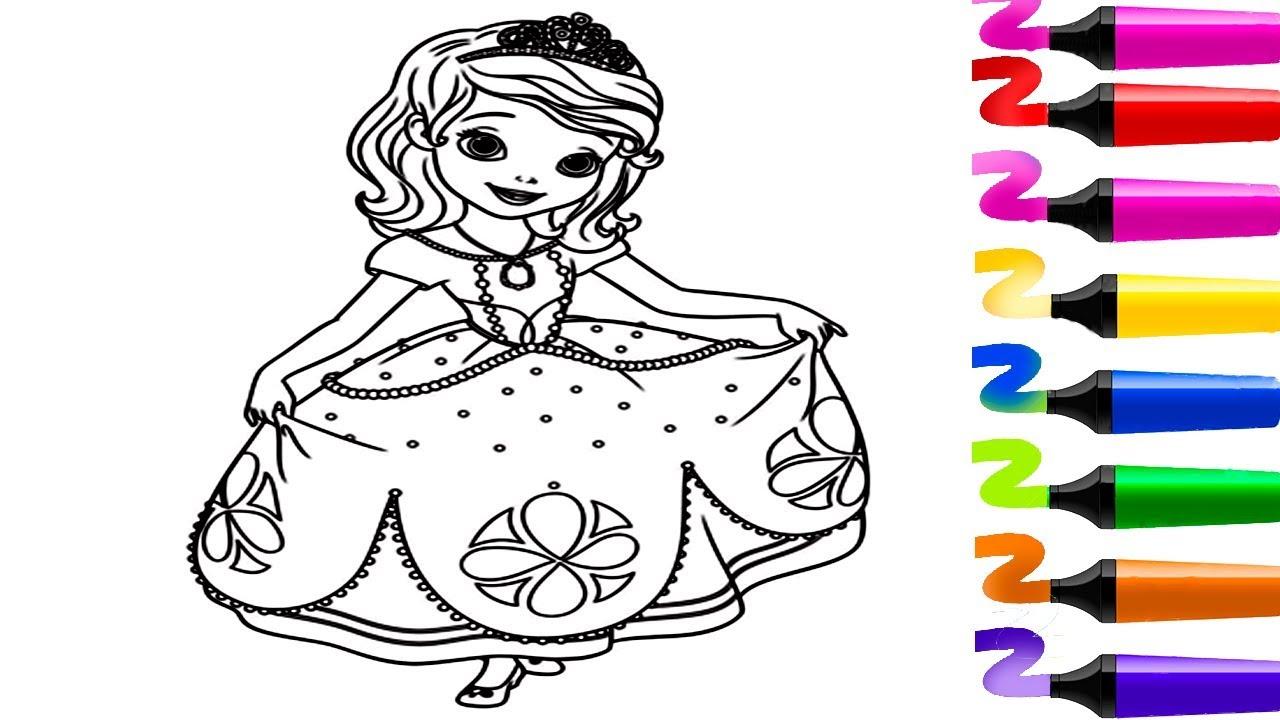 Coloriage de Princesse Sofia The First!! Dessin facile! Coloriage magique!  Sofia The First