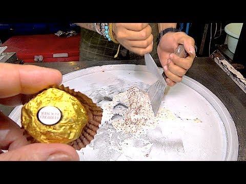 ICE CREAM ROLLS | Ferrero Rocher chocolate / Banana Mango / Red ice cream roll and Durian