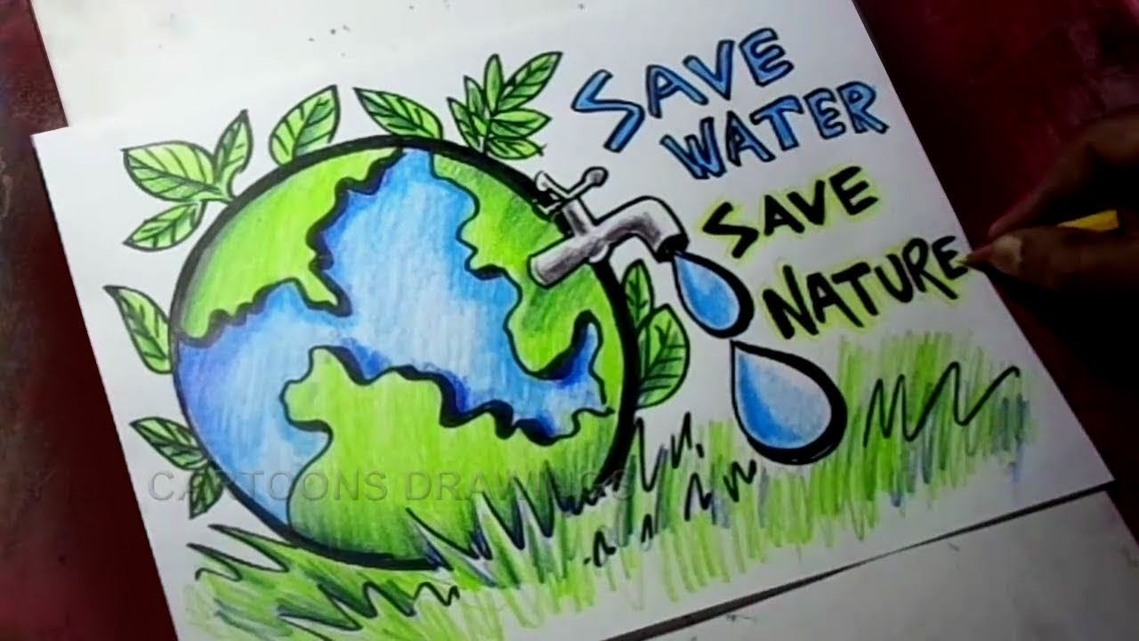 How to draw save trees save water save nature poster drawing for kids