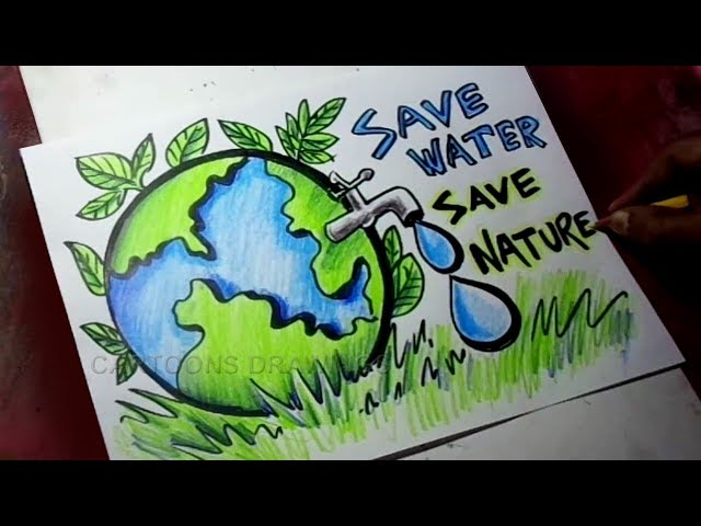 How to Draw Save Trees / Save Water / Save Nature Poster Drawing for Kids