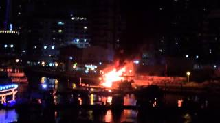 Yacht on Fire - Dubai Marina