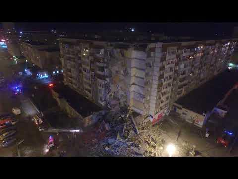 видео: В Ижевске на месте обрушения части жилого дома продолжаются поисково-спасательные работы