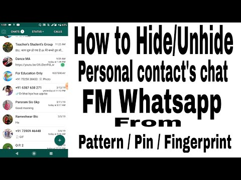 How To Hide / Unhide Personal Contact's Chat In FM Whatsapp .
