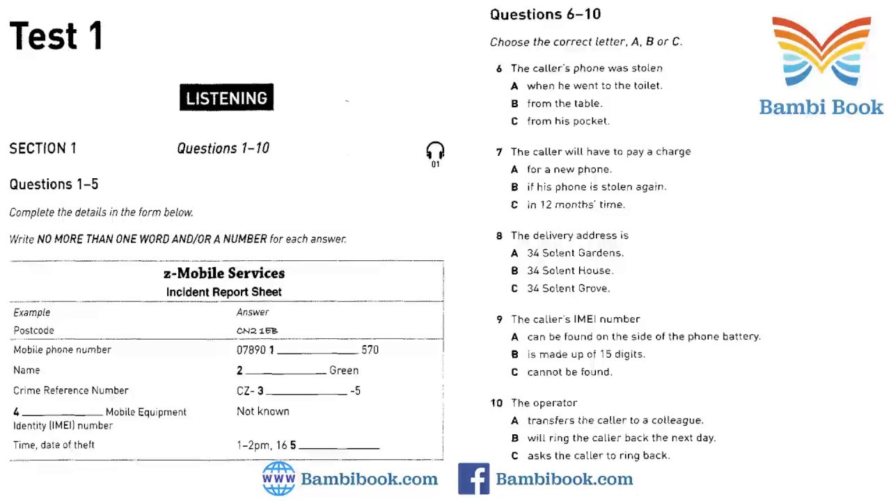 Collins Practice Tests for IELTS 1 Test 1 Listening With answer