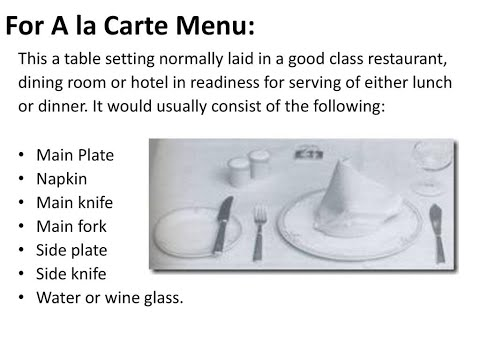 Table setup for a la carte menu & Table setup for a la carte menu - YouTube