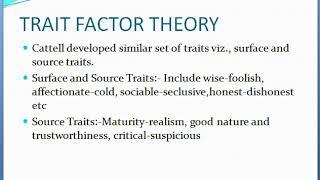 PERSONALITY THEORIES ORGANIZATION BEHAVIOUR