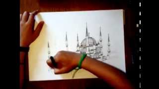 Blue Mosque Sketch - Judy Abi Roustom